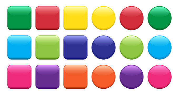 Colorful set of buttons, square and round shape. Vector illustration