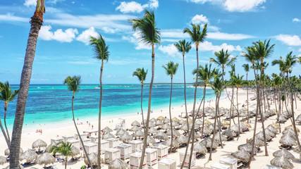 aerial view of a wonderful tropical beach resort, Punta Cana, Dominican Republic, Bavaro Beach