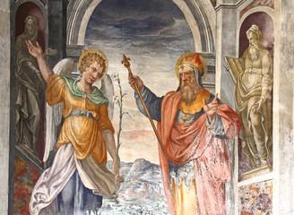 un Angelo e un Re o Profeta; affresco nella chiesa di Santa Maria della Passione, Milano
