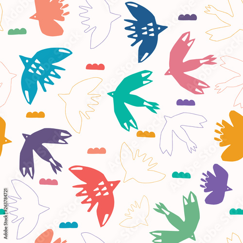 Abstract bird cloud cut out shapes  Vector pattern seamless