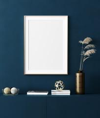 Mock up poster frame in home interior background, modern style, 3d render