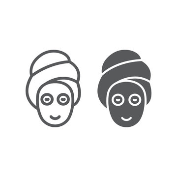 Beauty mask line and glyph icon, skin and beauty, face care sign, vector graphics, a linear pattern on a white background.