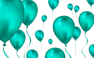 Glossy teal color Flying helium Balloons backdrop with blur effect. Wedding, Birthday and Anniversary Background. Vector illustration for invitation card, party brochure, banner