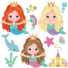Mermaid vector cartoon illustration