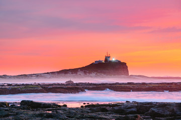 Newcastle sunrise looking back towards Nobbys Beach from the Newcastle Ocean Baths