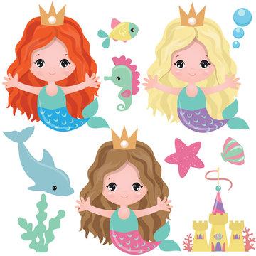 Mermaid vector cartoon illustration