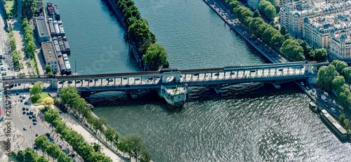 Panoramic Aerial View Of Metro Train On Pont De Bir Hakeim