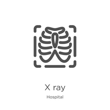 x ray icon vector from hospital collection. Thin line x ray outline icon vector illustration. Outline, thin line x ray icon for website design and mobile, app development.