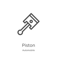 piston icon vector from automobile collection. Thin line piston outline icon vector illustration. Outline, thin line piston icon for website design and mobile, app development.