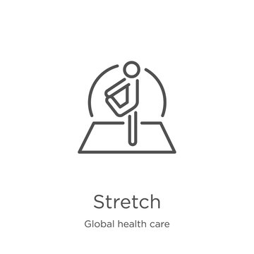 stretch icon vector from global health care collection. Thin line stretch outline icon vector illustration. Outline, thin line stretch icon for website design and mobile, app development.