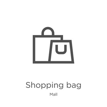shopping bag icon vector from mall collection. Thin line shopping bag outline icon vector illustration. Outline, thin line shopping bag icon for website design and mobile, app development.
