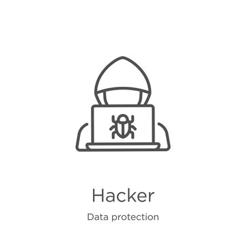 hacker icon vector from data protection collection. Thin line hacker outline icon vector illustration. Outline, thin line hacker icon for website design and mobile, app development.