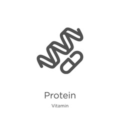 protein icon vector from vitamin collection. Thin line protein outline icon vector illustration. Outline, thin line protein icon for website design and mobile, app development.