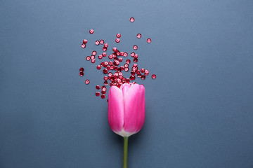 Tulip and red sequins on grey background. Menstruation concept