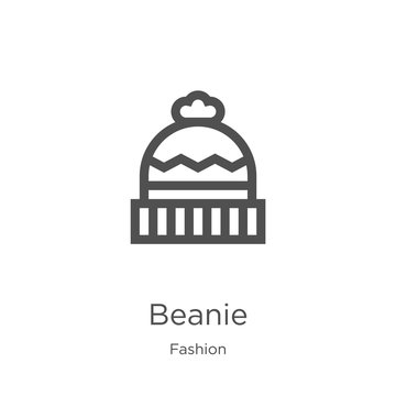 beanie icon vector from fashion collection. Thin line beanie outline icon vector illustration. Outline, thin line beanie icon for website design and mobile, app development.