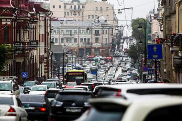 Road traffic of the city of Vladivostok. Traffic jam on the main street of Vladivostok -...