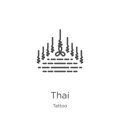 thai icon vector from tattoo collection. Thin line thai outline icon vector illustration. Outline, thin line thai icon for website design and mobile, app development.