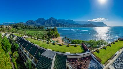 Panorama of a resort overlooking Hanalei Bay and the Na Pali coast Princeville Kauai Hawaii USA