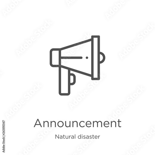 announcement icon vector from natural disaster collection  Thin line