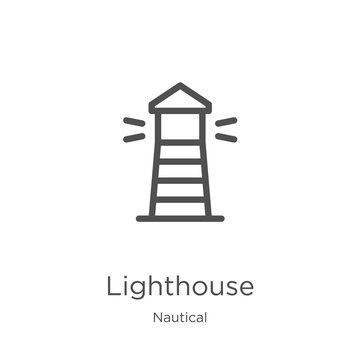 lighthouse icon vector from nautical collection. Thin line lighthouse outline icon vector illustration. Outline, thin line lighthouse icon for website design and mobile, app development.