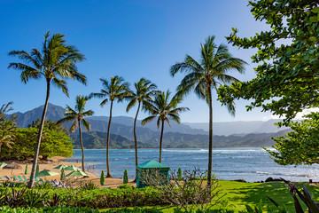 Beach at a resort at Hanalei Bay and the Na Pali coast Princeville Kauai Hawaii USA