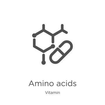amino acids icon vector from vitamin collection. Thin line amino acids outline icon vector illustration. Outline, thin line amino acids icon for website design and mobile, app development.