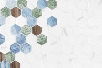 Modern hexagon tiled background Wall mural