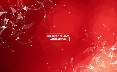 Red Geometric Polygonal background molecule and communication. Connected lines with dots. Minimalism background. Concept of the science, chemistry, biology, medicine, technology.