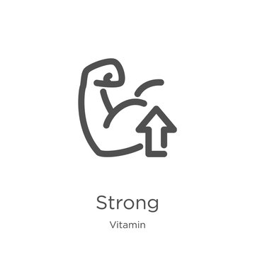 strong icon vector from vitamin collection. Thin line strong outline icon vector illustration. Outline, thin line strong icon for website design and mobile, app development.