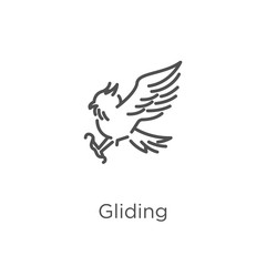 gliding icon vector from owl collection. Thin line gliding outline icon vector illustration. Outline, thin line gliding icon for website design and mobile, app development.