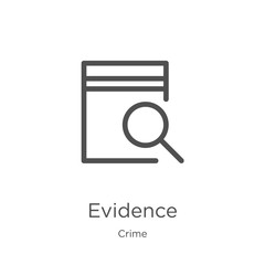 evidence icon vector from crime collection. Thin line evidence outline icon vector illustration. Outline, thin line evidence icon for website design and mobile, app development.