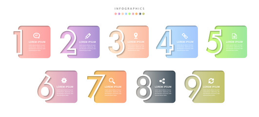 Vector infographic design UI template colorful gradient 9 relief number labels and icons