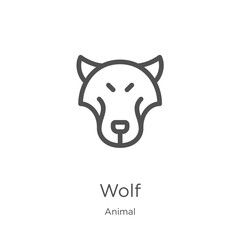 wolf icon vector from animal collection. Thin line wolf outline icon vector illustration. Outline, thin line wolf icon for website design and mobile, app development.