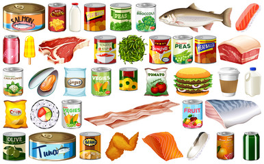 Set of isolated food