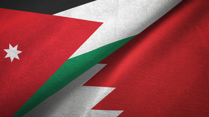Jordan and Bahrain two flags textile cloth, fabric texture