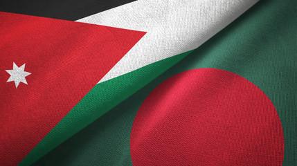 Jordan and Bangladesh two flags textile cloth, fabric texture