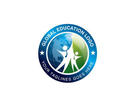 global education logo with two student jumping together in front of world globe