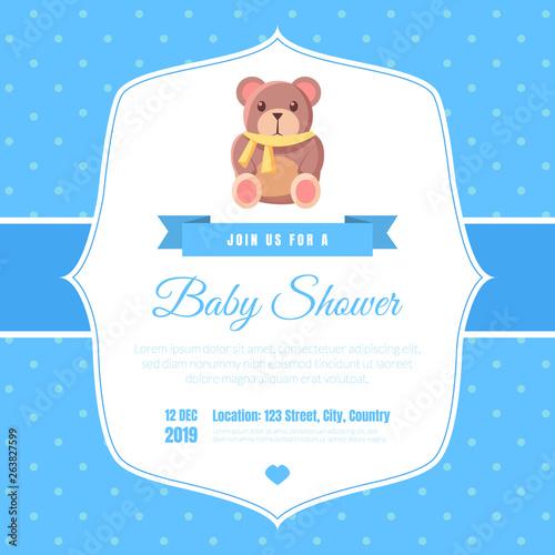 Baby Shower Invitation Template On Blue Polka Dot Background