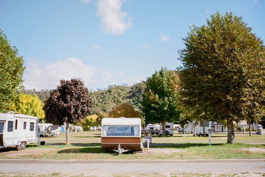 Caravan in a campground in the Tasman Bay area of New Zealand