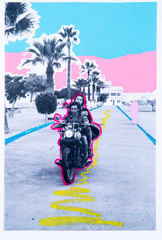 Low res cut out print of a couple riding on a motorbike with pastel drawings