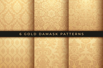 Set of Vector Damask Patterns. Rich Gold ornament, old Damascus style pattern