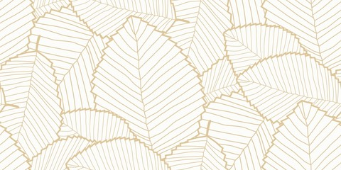Vector seamless Leafs pattern white and gold