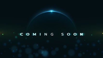 Coming Soon text on abstract Sunrise Dark Background with motion effect