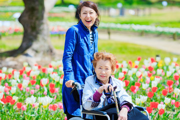 車椅子の高齢女性と介護をする女性