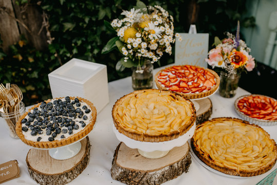Fruit tarts on a table