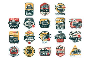 Fototapeta Car repair vintage style labels set, auto service logo, badge vector Illustrations on a white background obraz