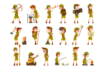 Scouting boys set, boy scouts with hiking equipment, summer camp activities vector Illustrations on a white background