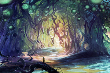 Digital fantasy illustration artwork of a person lost in magic caves where strange weird trees grow