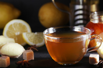 Foto op Canvas Thee Hot tea with lemon and ginger