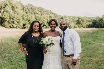 Bride and Parents on Wedding Day